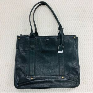 NWT Frye Distressed Black Leather Campus Shopper